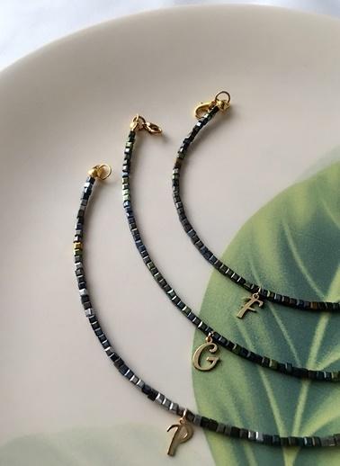 My Joyas Design P Harfli Kare Kristal Boncuk Halhal Altın
